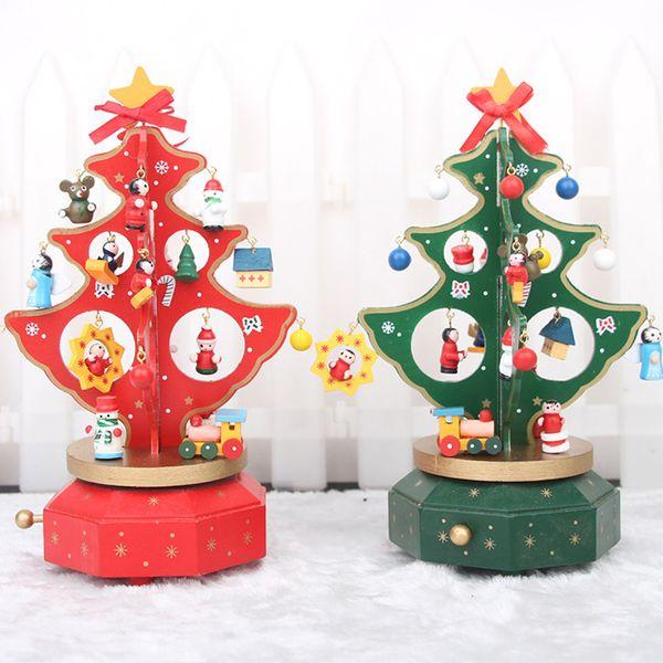 The music box rotating wooden Christmas tree Christmas tree tree Music Festival gift Christmas gift spot