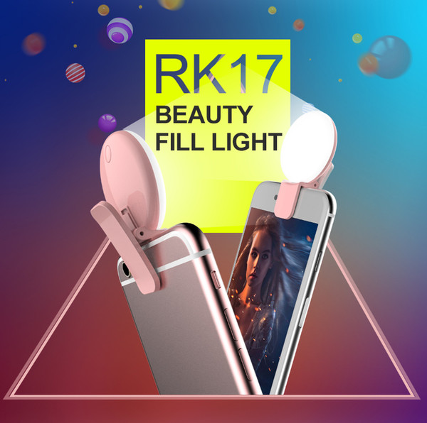 Portable Selfie LED Flash Light RK17 LED fill light 9 pcs Premium Bulbs For Phone For iPhone 7/7Plus For Samsung S7 EDGE xiaomi i8 Hot sale