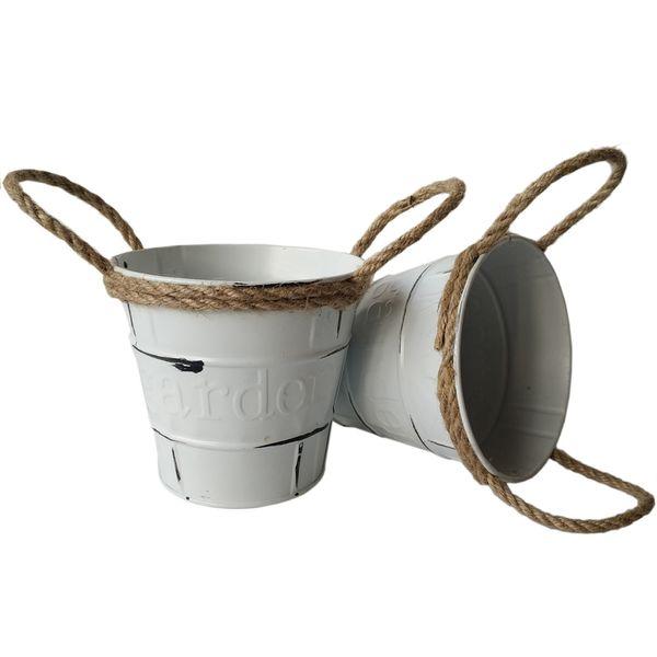Round D11*H10.5CM Rustic Metal garden pail bucket tin box Iron flower pots Cream color Nursery pot