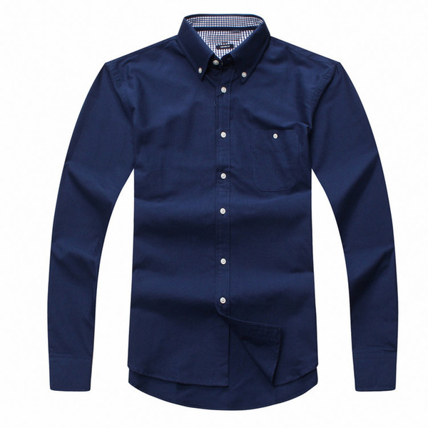 best selling Wholesale 2017 new autumn and winter men's long sleeve 100% cotton shirt pure men casual fashion Oxford shirt social brand clothing