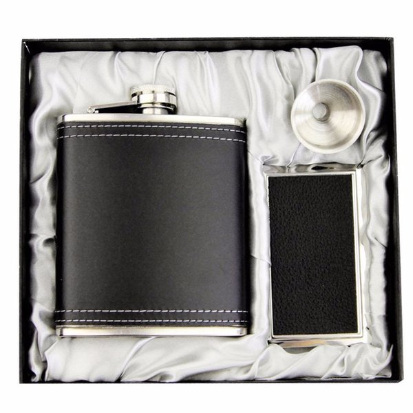 7oz Leather Stainless Steel Portable Liquor Wine Hip Flask Cardcase Set