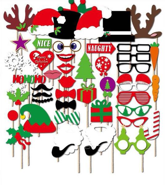 50pcs/lot Christmas DIY Party Masks Set Photo Pipe Glasses Snowflake Christmas Hat On A Stick Party Decorations Favor Unisex Masks