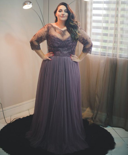 Grey Plus Size Prom Dresses 3/4 Long Sleeves A Line Sheer Neckl Lace  Appliques Tulle Floor Length Formal Party Evening Gown Old Hollywood Prom  Dresses ...