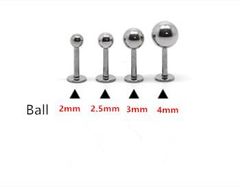 16G Lip ring Labret piercing Ball Plain 316L surgical steel fashion Body piercing Jewelry 100pcs/lot 2mm 2.5mm 3mm 4mm Ear Tragus Pin Women