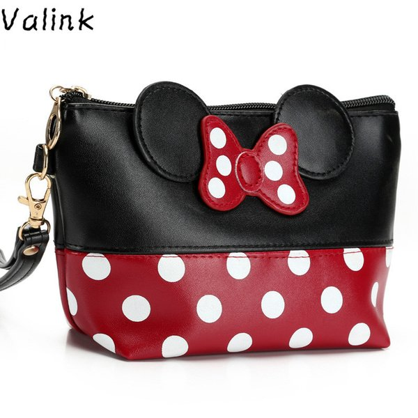 Wholesale- Valink 2017 Women PU Leather Butterfly Bow Makeup Bag Wristlet Cosmetics Bags Fashion Small Travel Pouch Neceser Maquillaje Sac