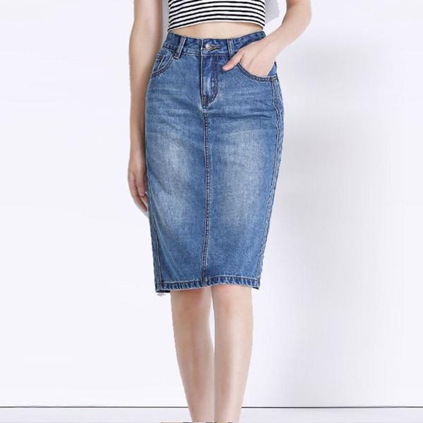 74190d5022 2017 New Knee Length Vintage Women Denim Pencil Skirt Office Ladies Blue  Casual Female Jean Bottoms