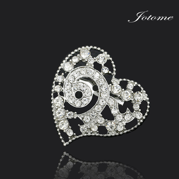100pcs/Factory Direct Sale New Design Clear Crystal Rhinestone Thailand King 9 Heart Shape Souvenir Brooch Pins for Funerals