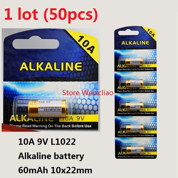 50pcs 1 lot 10A 9V 10A9V 9V10A L1022 dry alkaline battery 9 Volt Batteries replace A23L card Free Shipping