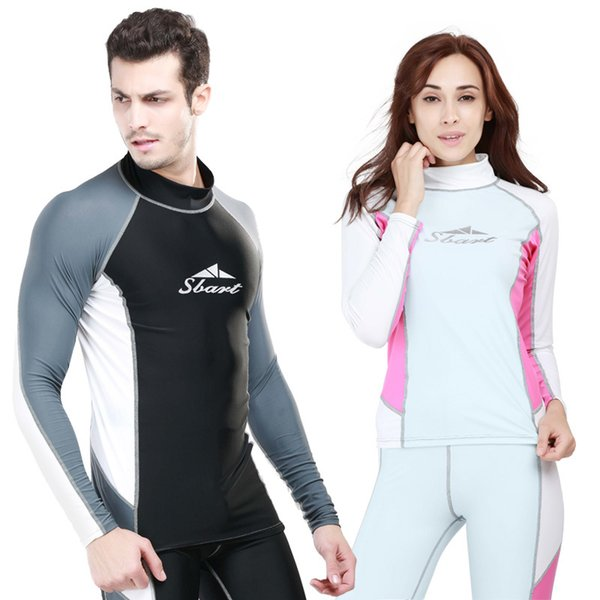 9dd8b0131dd0 SBART Women Long Sleeve Surf Swim Wear Men Lycra Swimsuit Rash Guard  Sunscreen Swimming Shirt Tops