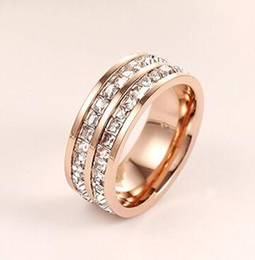 Rose gold with double row diamond