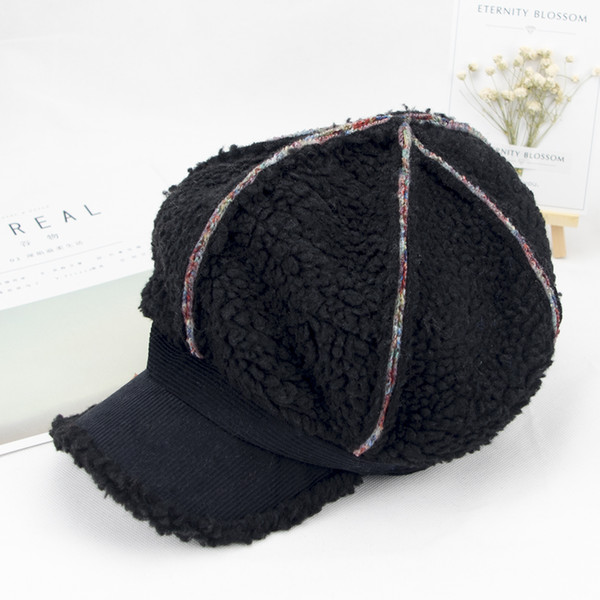 Lovely allmatch other lady Plush Newsboy Cap with brim Beret spring warm outdoor baseball cap Korean street fashion simple hat pure wool hat