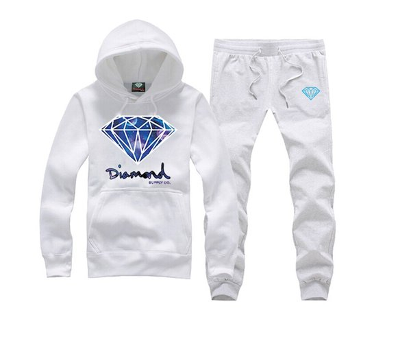 New Diamond Supply sweat suit New Men's Designer Fashion Brand Casual Spell Color Hooded Sweatshirt Men Hoodies Long Sleeve Male Clothing
