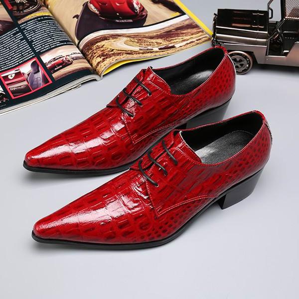 Acheter Luxe Robe Rouge Chaussures Fashion Bout Pointu Loisirs Chaussures Homme Chaussures De Mariage En Cuir Pour Marié Taille 38 46 Motif De