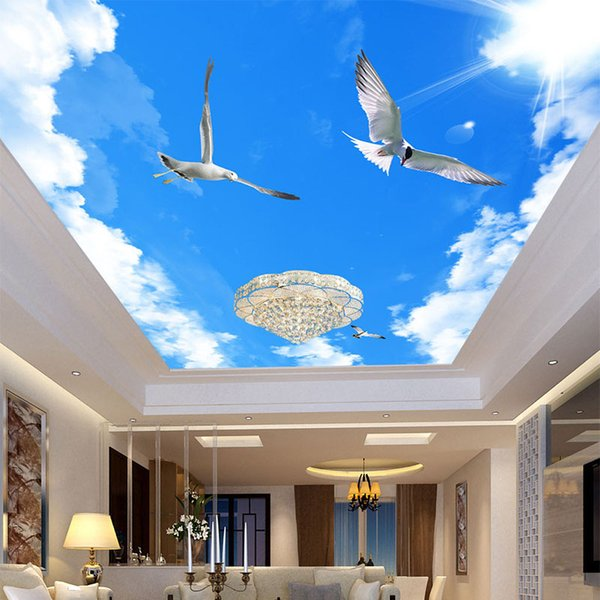 Wholesale-Custom 3D Wallpaper For Wall Sunny Blue Sky Flying Bird Photo Wall Mural Creative Ceiling Wall Paper For Room Backdrop Wallpaper