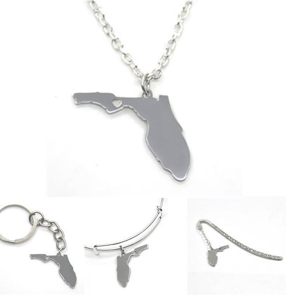 US State map necklace Florida island silver tone Florida necklace bangle keyring bookmark