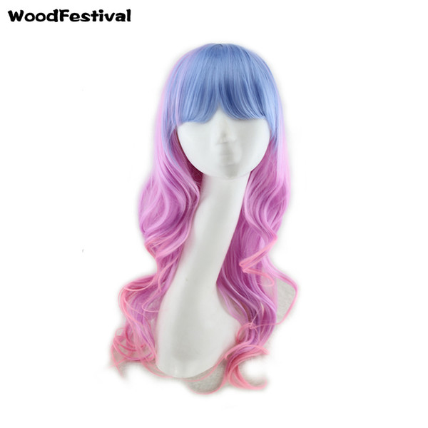 WoodFestival omber curly wavy hair wigs fiber synthetic wigs with bangs lolita long wigs for women pink burgundy blue green