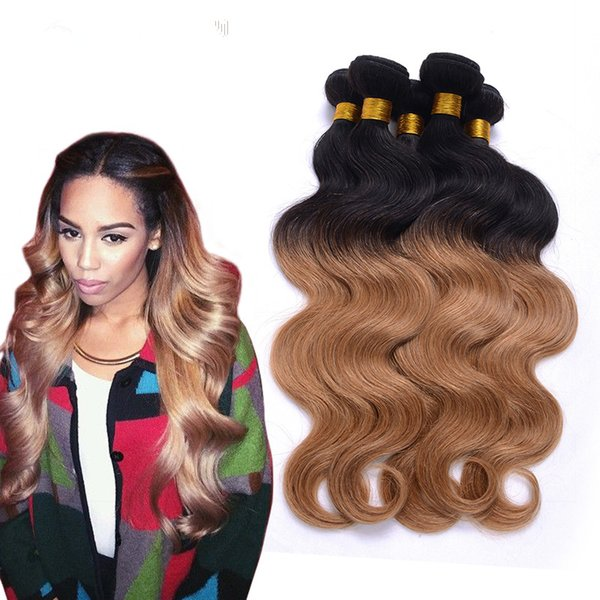 Malaysian HAIR OMBRE COLOR KINKY CURLY Human hair bundle lace closure weaves closure blonde lace closure with bundles brazilian virgin hair