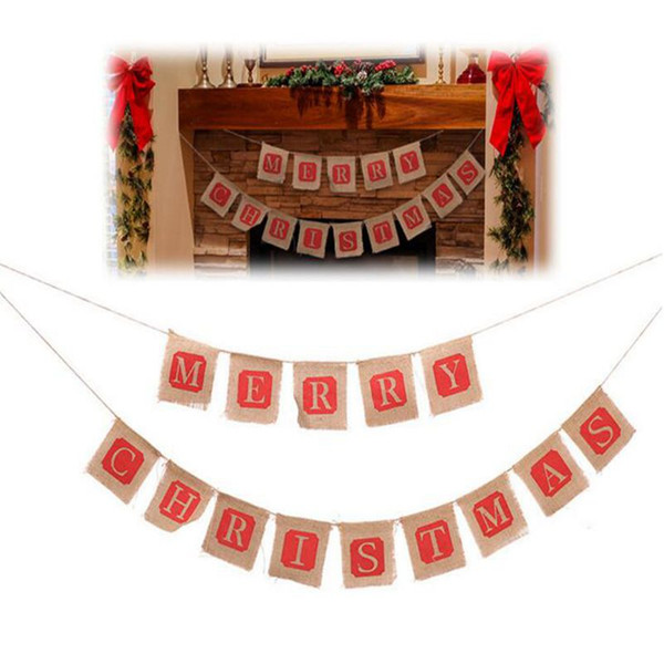 DIY Christmas Flags Merry Christmas Bunting Sign Vintage Jute Garland Celebration Banner Handmade Hessian Rustic Burlap Bunting flags Xmas