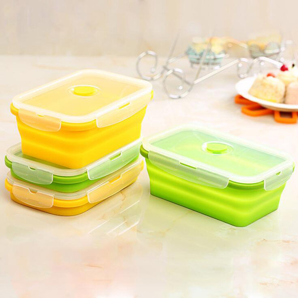 Wholesale Collapsible SiLunch Box Food Container Picnic Storage 750ml Silicone Collapsible Lunch Box Free Shipping