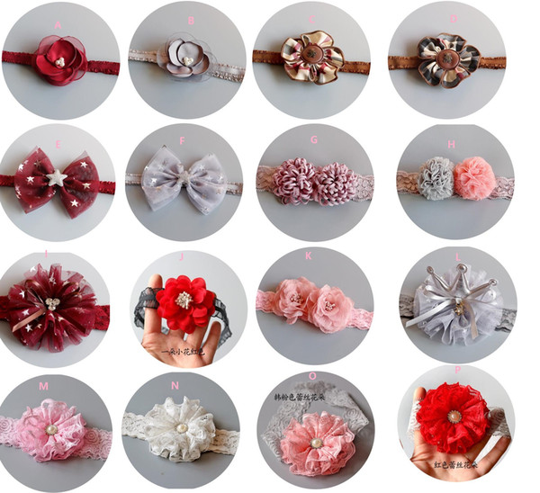 Newest kids flowers headbands bowknot crown lace floral headbands hair hoop for baby girls photography props