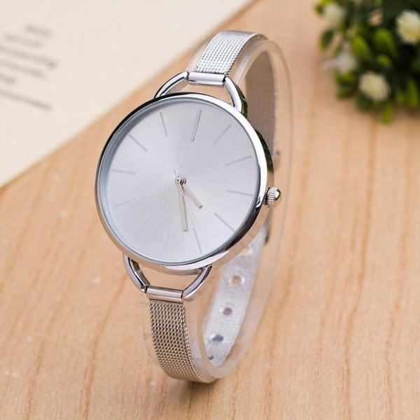 Fashion Brand women men Unisex gold silver Steel Metal Band quartz wrist watch C02