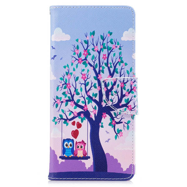 For Samsung Note 8 S8 Plus Cover Painted PU Leather Cases Flip wallet Card Two Eagls In Tree Design Phone Bags