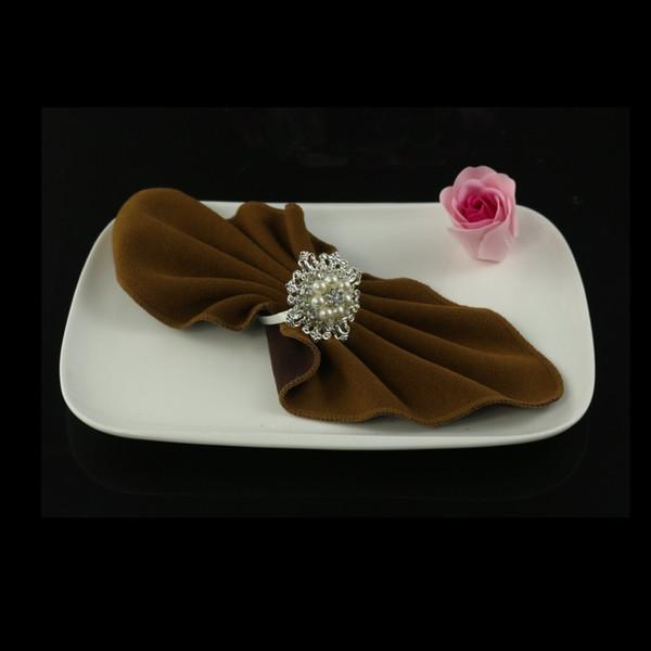 Wholesale- 12pcs anello portatovagliolo diamante perla, hotel per matrimoni, tovaglioli decorativi fibbia camera modello, decorazioni da tavola accessori da cucina