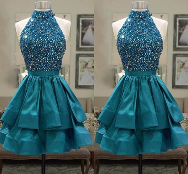 Turquoise Green Satin Short Homecoming Dresses High Neck Sleeveless Crystal Ribbon Ruffles Keyhole Back Short Prom Dresses Cocktail Dress