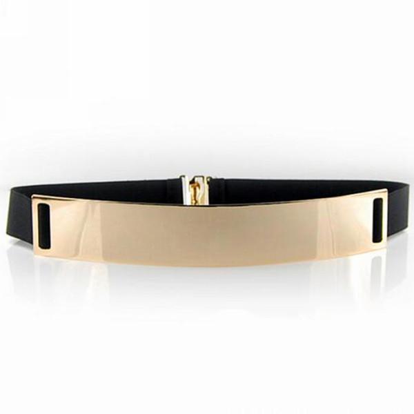 Wholesale- New Fashion Beige Women's Waist Band Elastic Mirror Metal Waist Belt Leather Metallic Bling Gold Plate Wide Obi Band Accessory