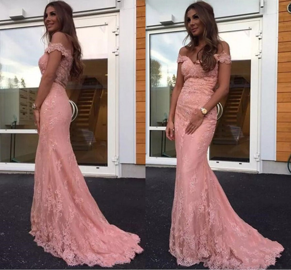Formal off the Shoulder Lace Mermaid Evening Dresses Custom Made Blush Pink Prom Celebrity Gowns vestidos festa 2018 Sweep Train