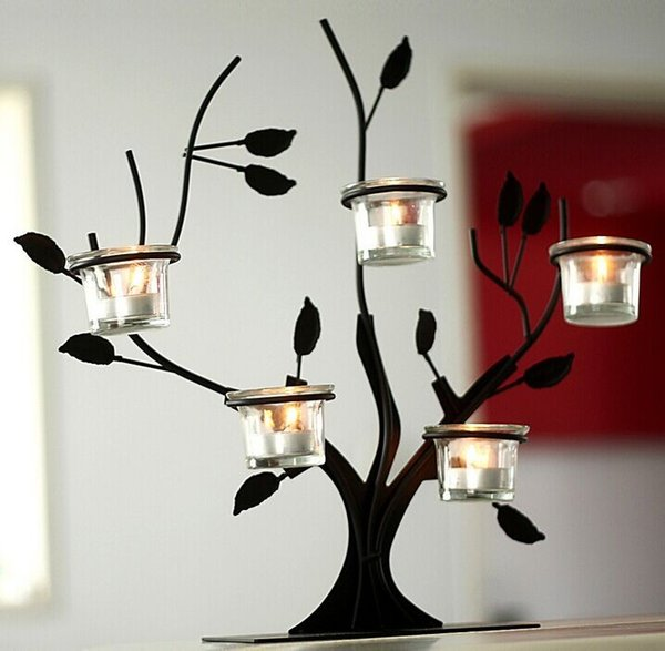 Pastoral Style Tree Branches Iron Candelabra of European Bar Table Ornaments Candle Holder In Glass For Home Decor Wedding Decoration LLFA