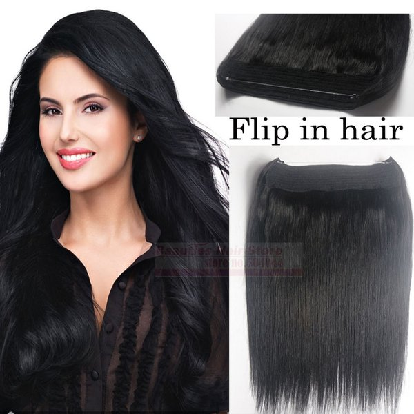 "top popular ZZHAIR 16""-32"" 100% Brazilian Remy Human hair Halo Hair Flips in on Human Hair Extension 1pcs set Non-Clips #1 Jet Black 80g-200g 2019"