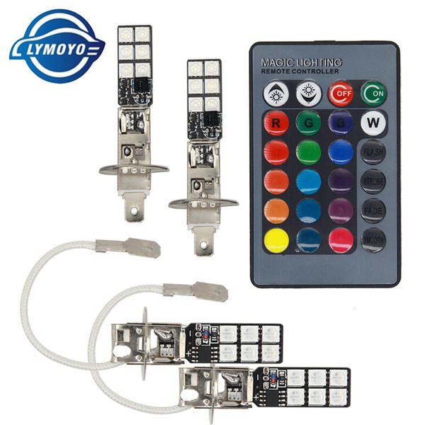 h1 led RGB headlamps H1 5050 LED 12 SMD RGB steering lights fog lights daylight indicators with remote control models