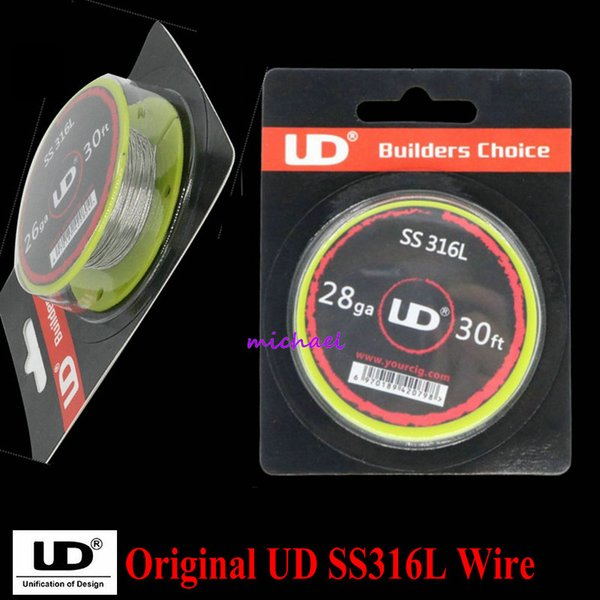 Wholesale-100% Original Youde UD Stainless Steel SS316L Wire with 28ga 26ga 24ga (10m/roll) 1 roll/lot