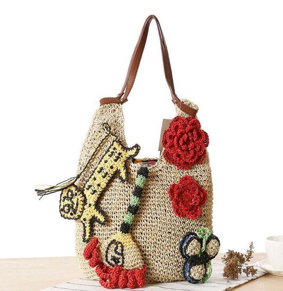 Factory wholesale brand new hand woven bags tiger woman straw bag summer romantic beach bag woven wool Crochet women leisure bag