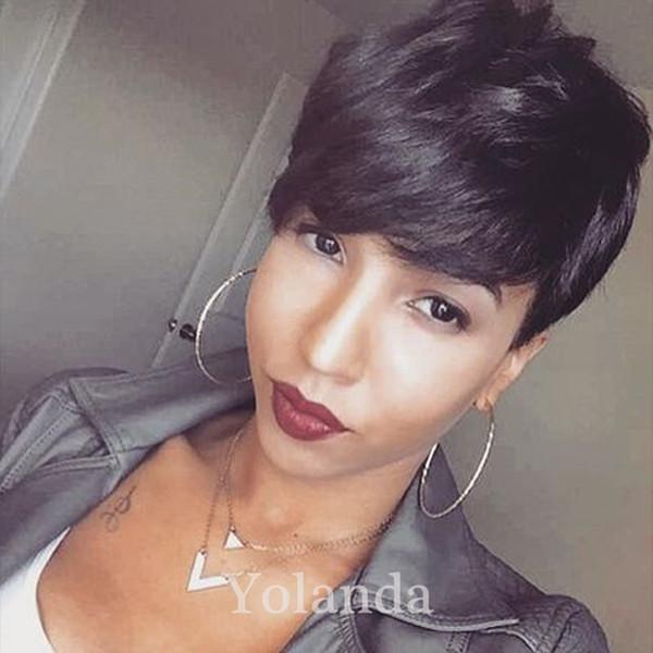 Hot Sale Short Human Hair Cut Pixie Wigs Straight Ladies Wig for Black Women Brazilian Virgin Cut Hair Wig Celebrity Wig