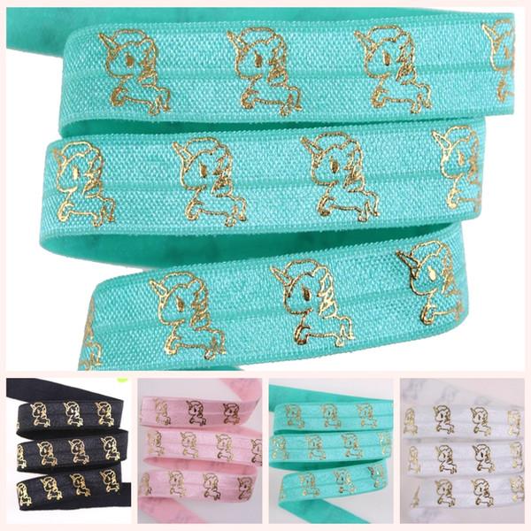 "4 Colors 5 /8 ""Gold Foil Cute Unicorn Fold Over Elastic Ovely Gold Metallic Unicorn Foe Elastic Fashion headbands Solid Headwear"