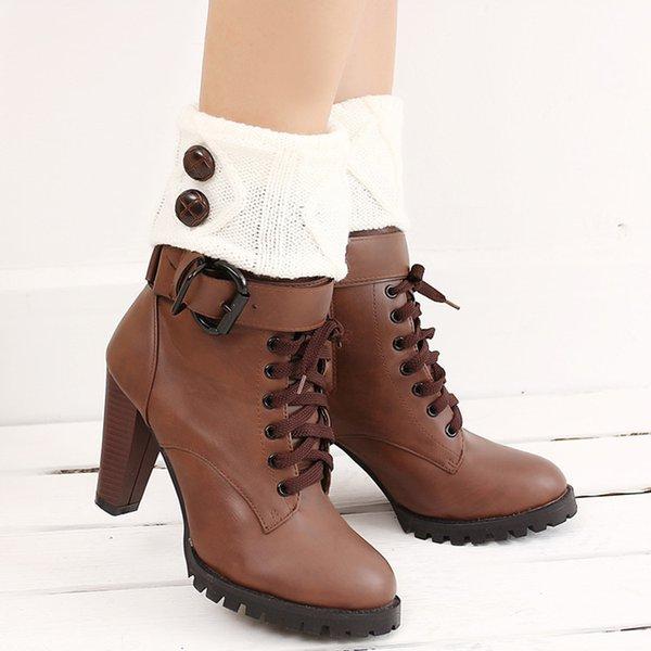 Großhandel Winter-strickende Socken-Stiefel-Bein-Wärmer-Stiefel ...