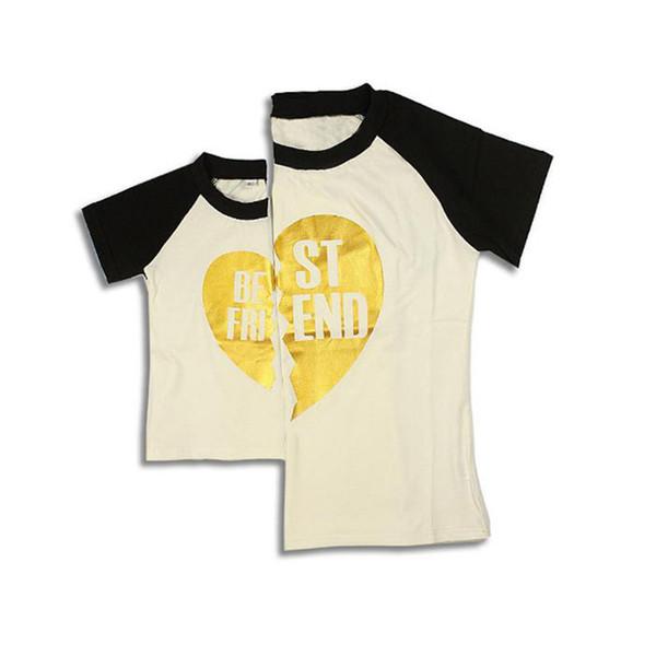 All'ingrosso-2017 Abbigliamento di famiglia corrispondente per mamma e figlio Neonata Ragazzo manica corta Lettera Stampa T Shirt madre figlia Abiti
