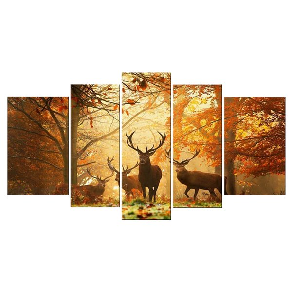 wholesale 5 Piece Deer Pattern Oil Painting Wall Art Picture Modern Home Decor Living Room or Bedroom Canvas Print Painting unframed