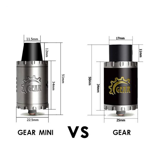 Wholesale- Vaporizer Authentic Cigreen Gear RDA Mini 22mm diamiter Rebuildable Dripping Atomizer electronic cigarette accessories