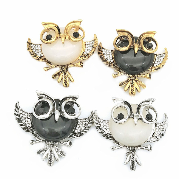 Vintage Rhinestone Acrylic Gem Bird Owls Brooches Antiques Owl Hijab Pin Up Wedded Broach Scarf Clips Jewelry Lot 10 Pcs