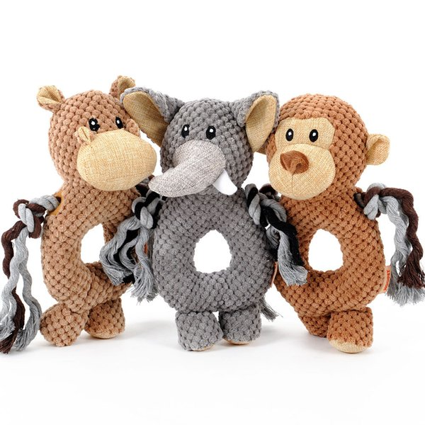 Plush Toys Soft Fabric New Cute Monkey Elephant Horse Shape Voice Small Pets Puzzle Toy Circle Ring Pet Training 11hy F R