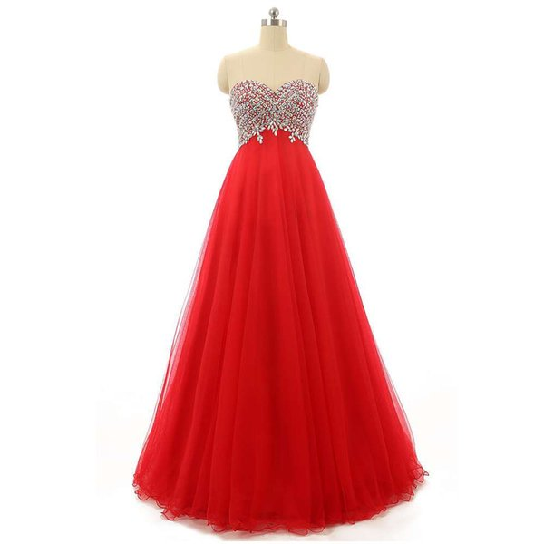 Latest Collection Red Tulle Evening Ladies Dress With Crystals Sweetheart Fashion 2018 Designer Dress Corset Back