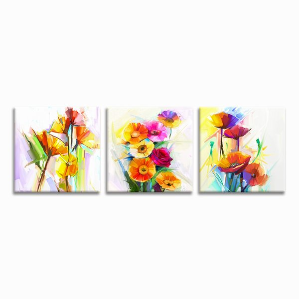 Free Shipping Abstract Flower Painting Canvas Prints 3 Pieces Giclee Printing Home Wall Decoration Unframed(30cmx30cmx3)