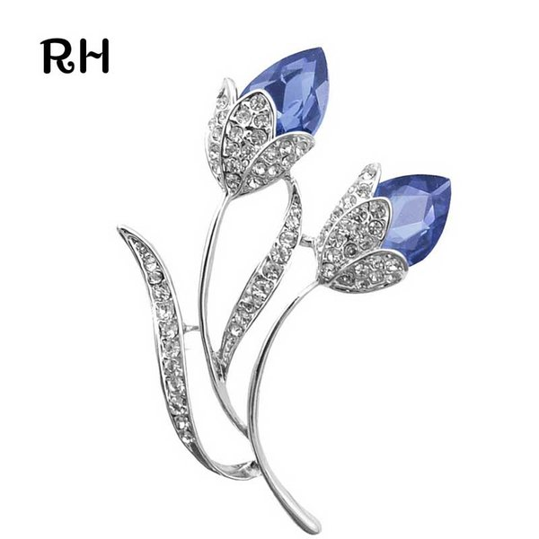 Wholesale- Romantic Women Silver plated Blue Crystal Double Flower Brooch broches for women and men wedding jewelry christmas gift brooches