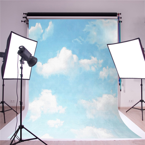SUSU Light Blue Sky Photography Backdrops 5x7ft White Cloud Background Photo Scenic Photo studio