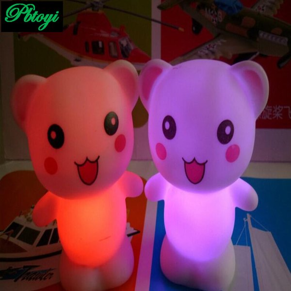 Wholesale- Happy Bear Colorful Led Lamp Stall Flash Toys Sets Circle PA0062