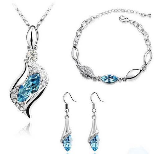Jewelry Set Wedding Sapphire Jewelry Sets Gem Stone Women Angel Silver Platinum Plate Austrian Crystal Necklace Earring
