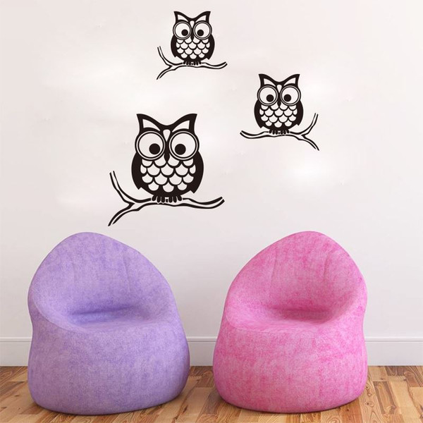 4157 Cute Wise Owls Wall Stickers For Kids Room Decorations Nursery Cartoon Children Decals Animals Mural Arts Free Shipping